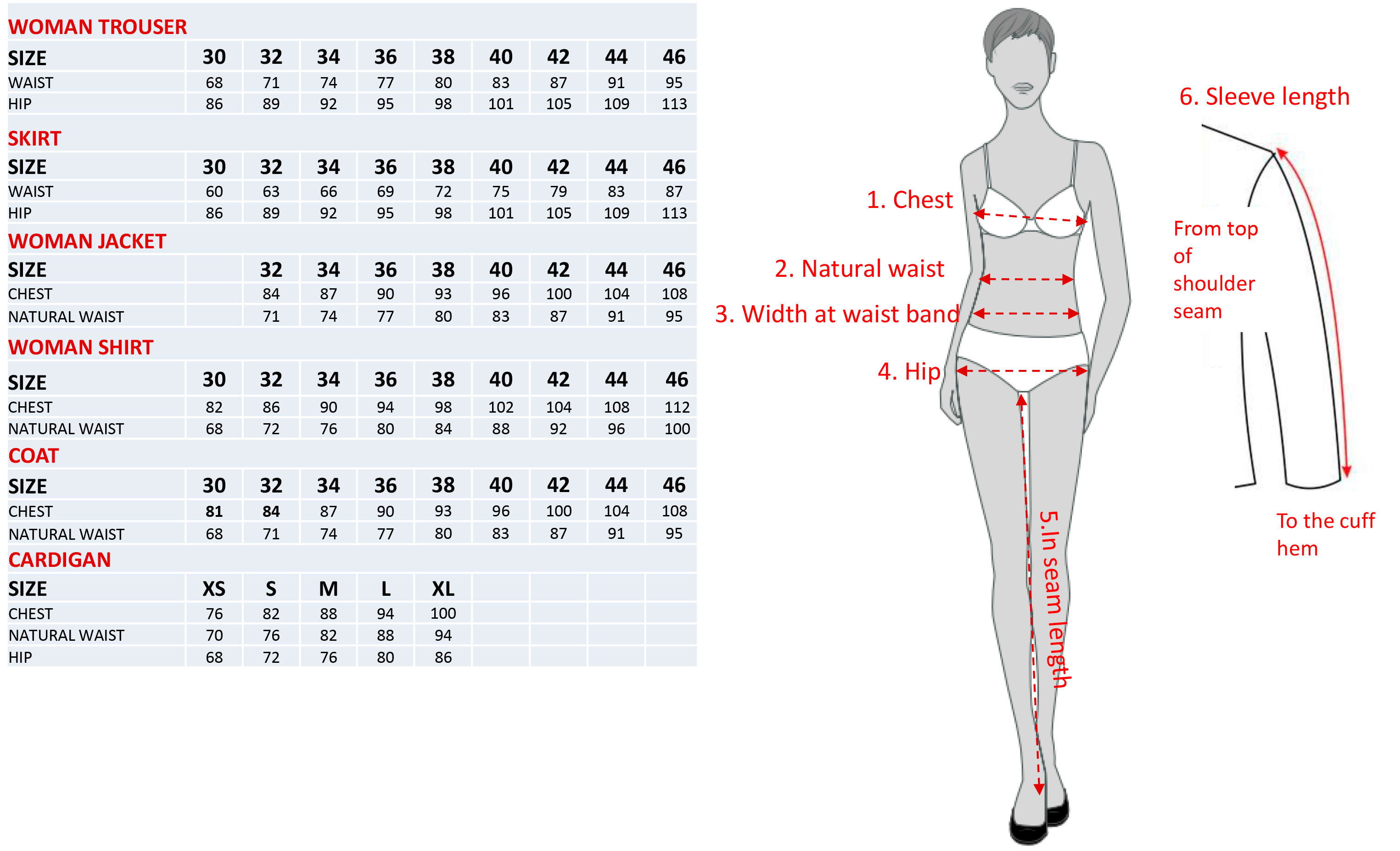 Size chart for womens uniforms