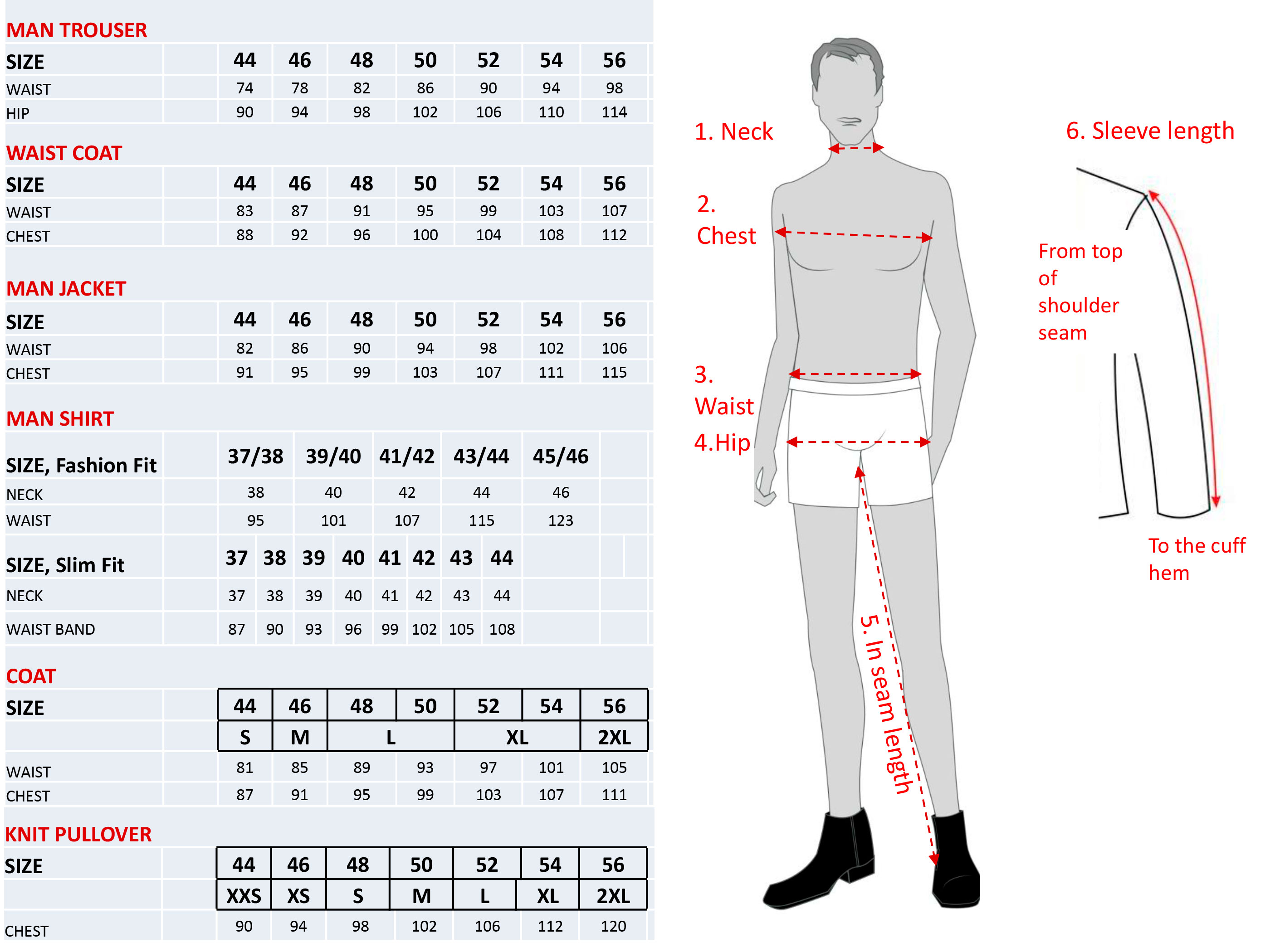 How to measure for male uniforms
