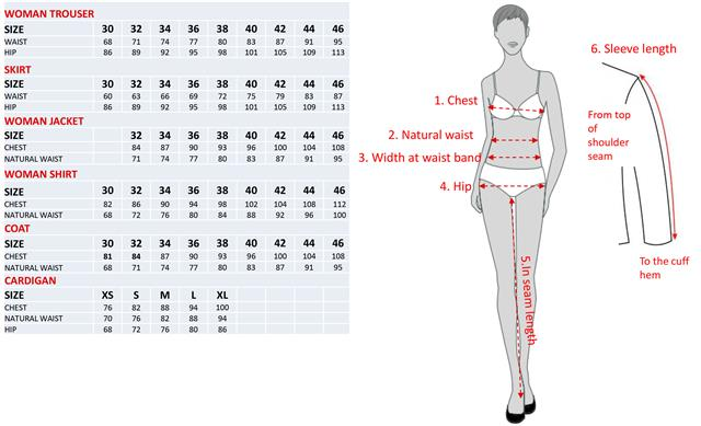 Size Chart For Women Uniforms By Olino